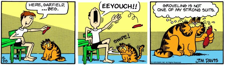 Оригинал комикса про Гарфилда от 28 июня 1978 года