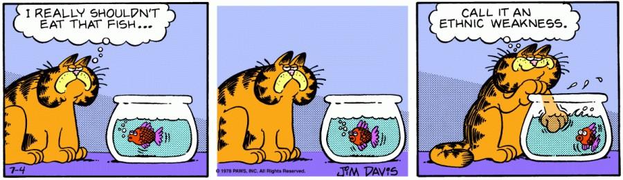 Оригинал комикса про Гарфилда от 04 июля 1978 года