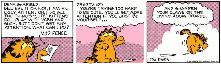 Оригинал комикса про Гарфилда от 08 июля 1978 года