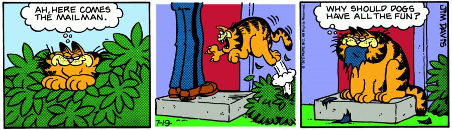 Оригинал комикса про Гарфилда от 19 июля 1978 года