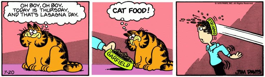 Оригинал комикса про Гарфилда от 20 июля 1978 года