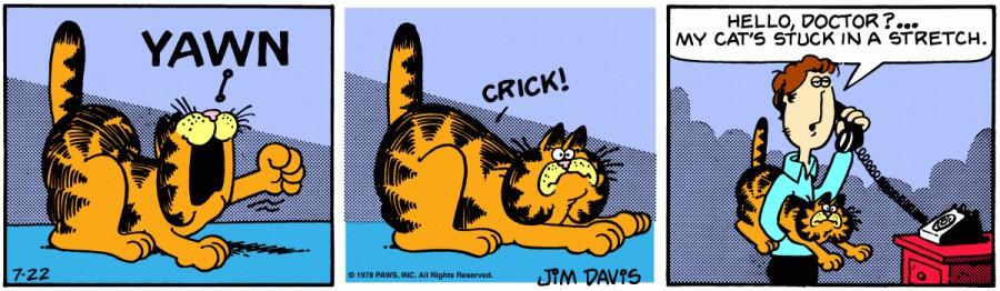 Оригинал комикса про Гарфилда от 22 июля 1978 года