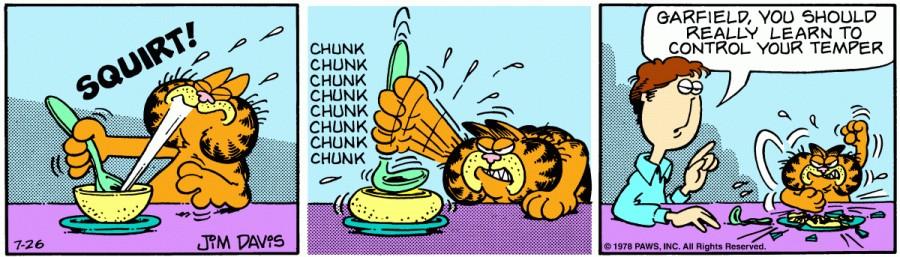 Оригинал комикса про Гарфилда от 26 июля 1978 года