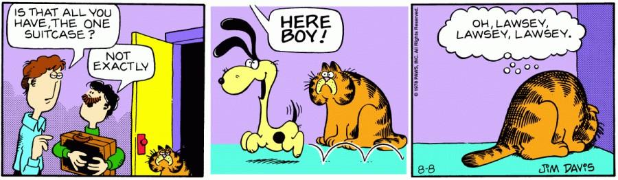 Оригинал комикса про Гарфилда от 08 августа 1978 года