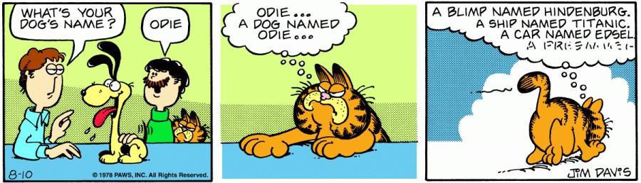 Оригинал комикса про Гарфилда от 10 августа 1978 года