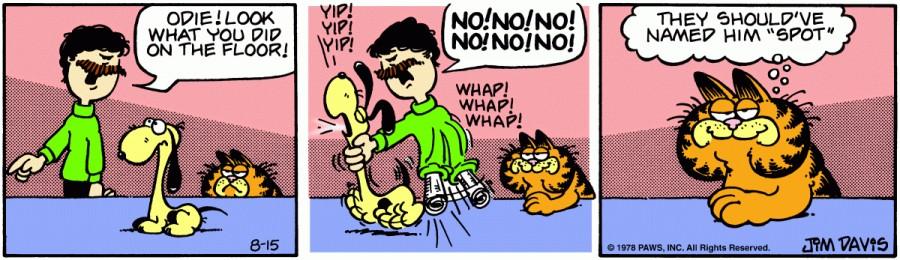 Оригинал комикса про Гарфилда от 15 августа 1978 года