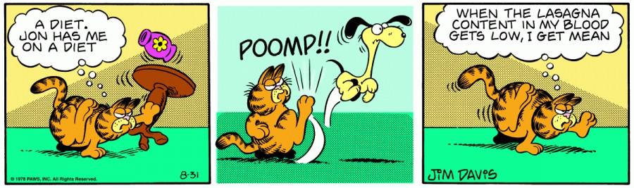 Оригинал комикса про Гарфилда от 31 августа 1978 года