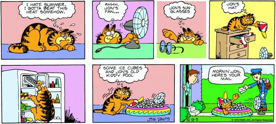 Оригинал комикса про Гарфилда от 03 сентября 1978 года