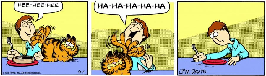 Оригинал комикса про Гарфилда от 07 сентября 1978 года