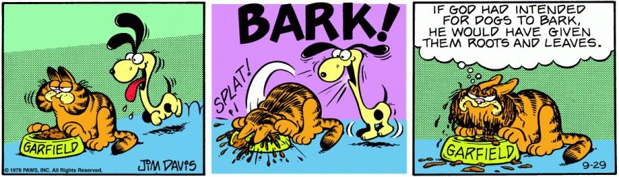 Оригинал комикса про Гарфилда от 29 сентября 1978 года
