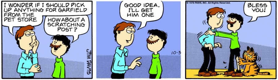 Оригинал комикса про Гарфилда от 03 октября 1978 года
