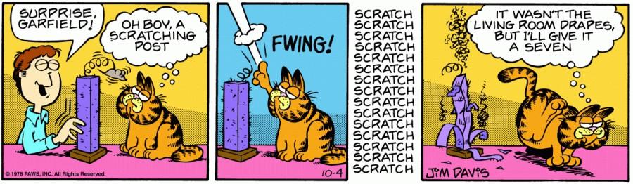 Оригинал комикса про Гарфилда от 04 октября 1978 года
