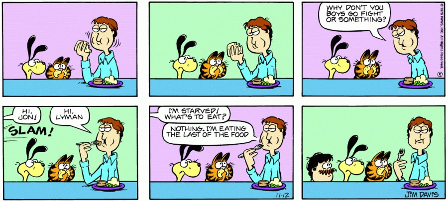 Оригинал комикса про Гарфилда от 12 ноября 1978 года