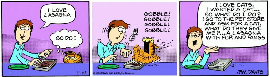 Оригинал комикса про Гарфилда от 14 ноября 1978 года