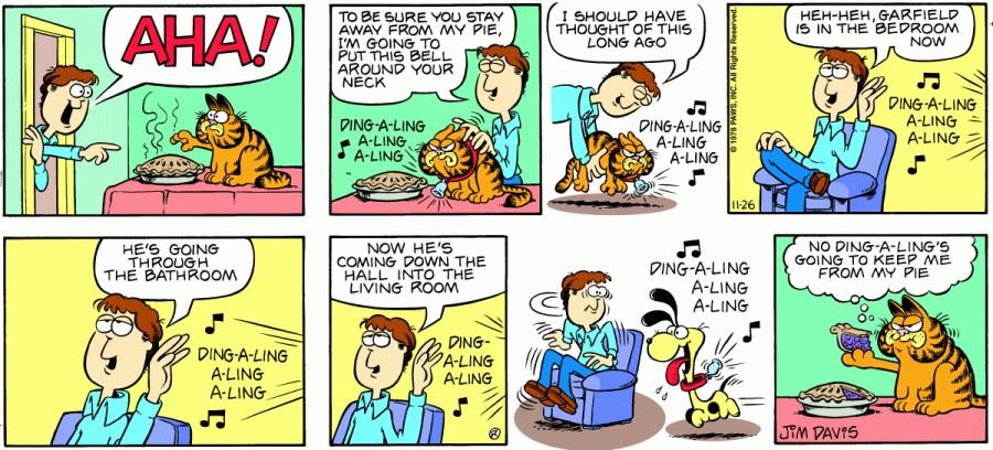 Оригинал комикса про Гарфилда от 26 ноября 1978 года
