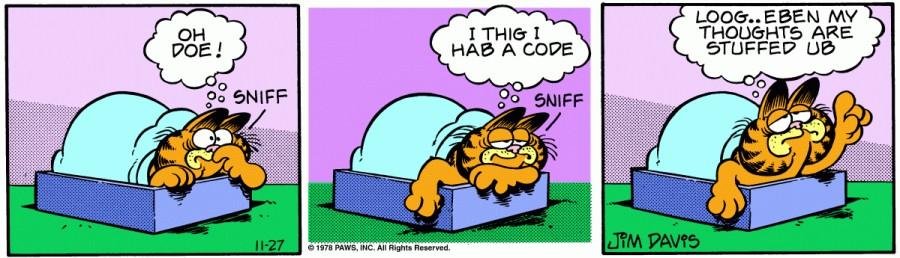 Оригинал комикса про Гарфилда от 27 ноября 1978 года