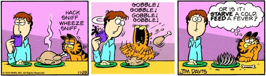 Оригинал комикса про Гарфилда от 29 ноября 1978 года
