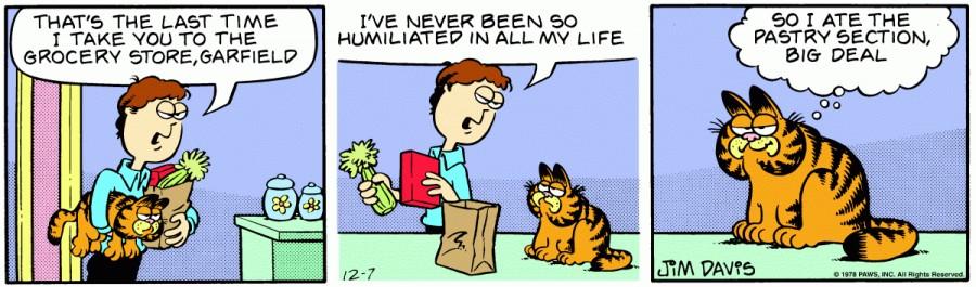 Оригинал комикса про Гарфилда от 07 декабря 1978 года
