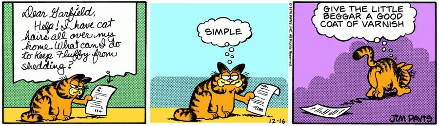 Оригинал комикса про Гарфилда от 16 декабря 1978 года