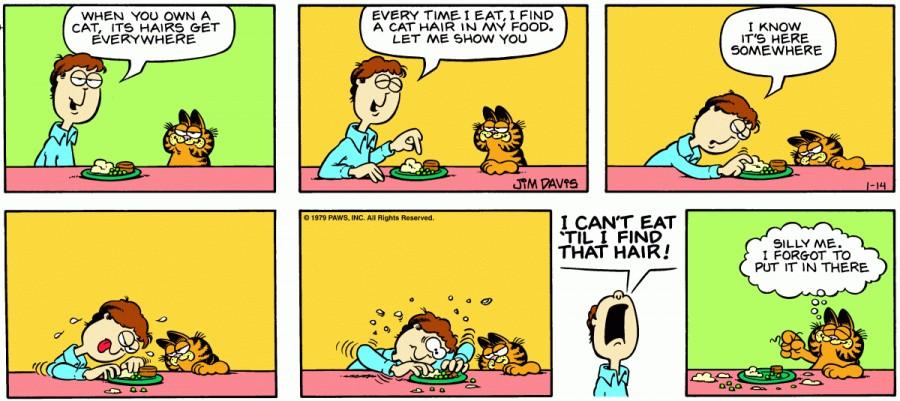 Оригинал комикса про Гарфилда от 14 января 1979 года