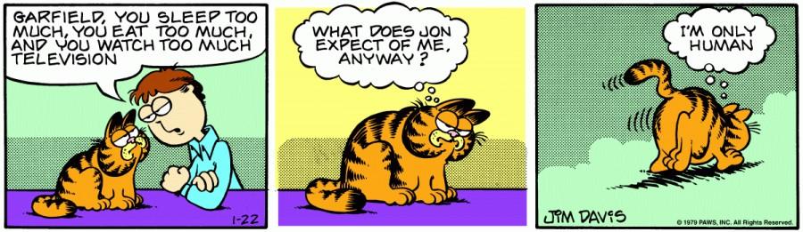 Оригинал комикса про Гарфилда от 22 января 1979 года