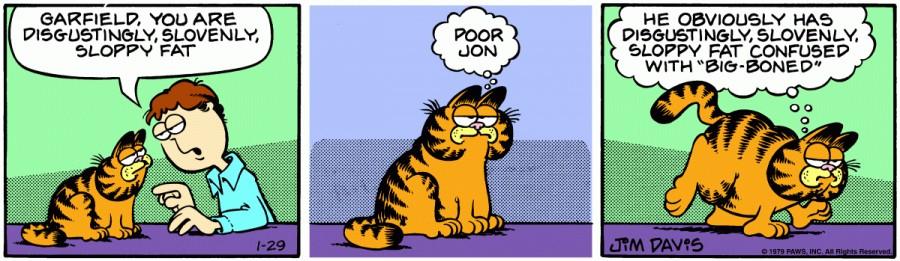 Оригинал комикса про Гарфилда от 29 января 1979 года