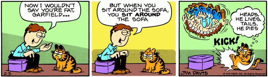 Оригинал комикса про Гарфилда от 03 февраля 1979 года