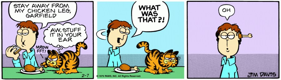 Оригинал комикса про Гарфилда от 07 февраля 1979 года