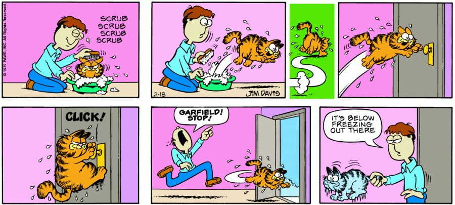 Оригинал комикса про Гарфилда от 18 февраля 1979 года