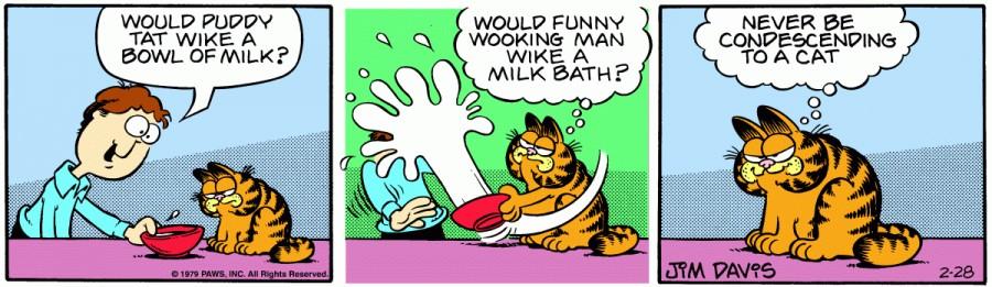 Оригинал комикса про Гарфилда от 28 февраля 1979 года