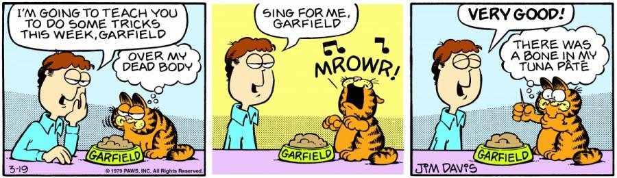Оригинал комикса про Гарфилда от 19 марта 1979 года