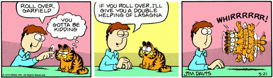 Оригинал комикса про Гарфилда от 21 марта 1979 года