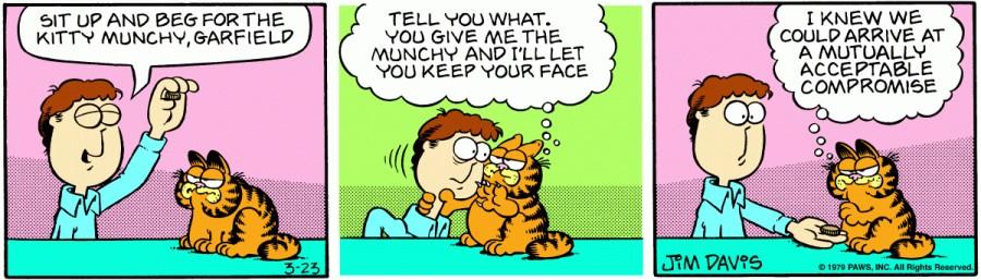 Оригинал комикса про Гарфилда от 23 марта 1979 года