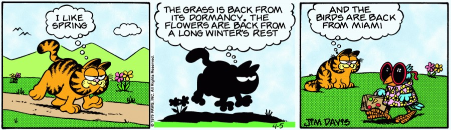 Оригинал комикса про Гарфилда от 05 апреля 1979 года