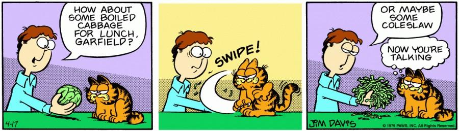Оригинал комикса про Гарфилда от 17 апреля 1979 года