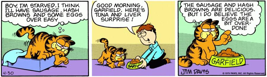 Оригинал комикса про Гарфилда от 30 апреля 1979 года