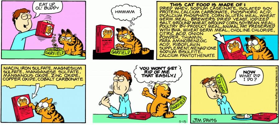 Оригинал комикса про Гарфилда от 13 мая 1979 года