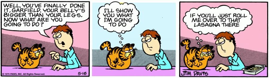 Оригинал комикса про Гарфилда от 16 мая 1979 года