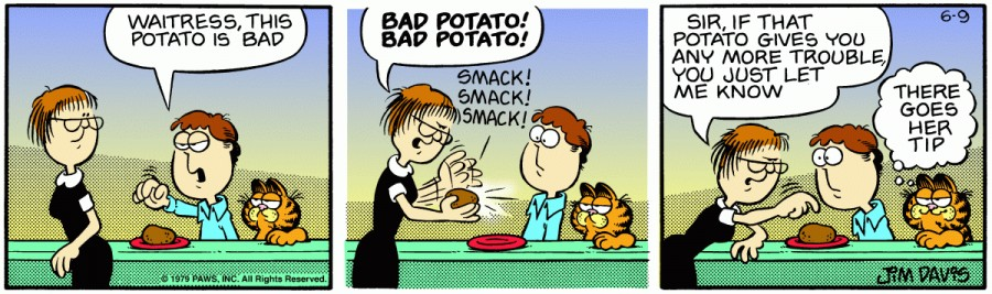 Оригинал комикса про Гарфилда от 09 июня 1979 года