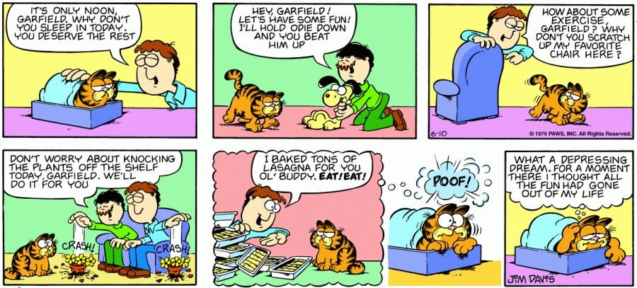 Оригинал комикса про Гарфилда от 10 июня 1979 года