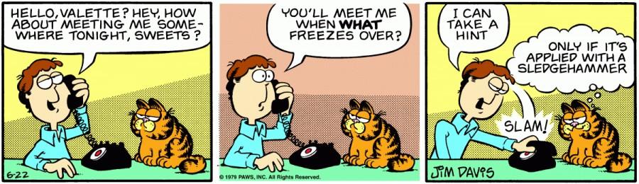 Оригинал комикса про Гарфилда от 22 июня 1979 года