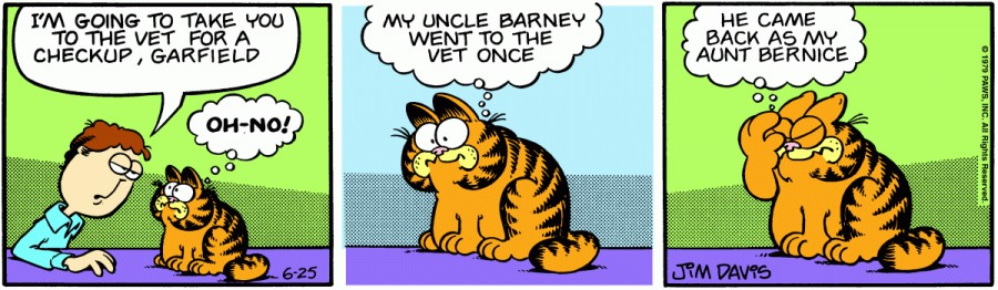Оригинал комикса про Гарфилда от 25 июня 1979 года