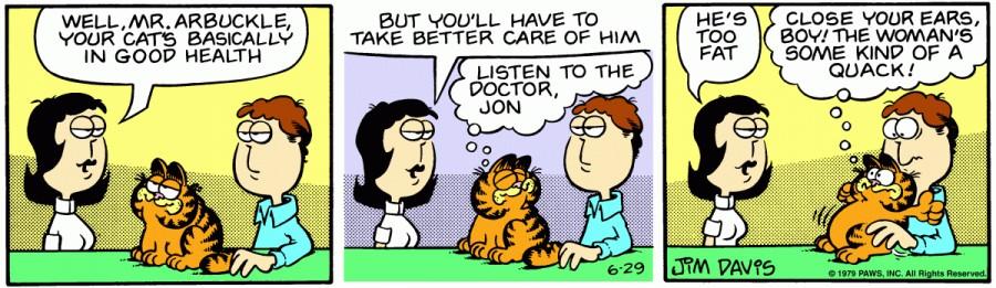 Оригинал комикса про Гарфилда от 29 июня 1979 года