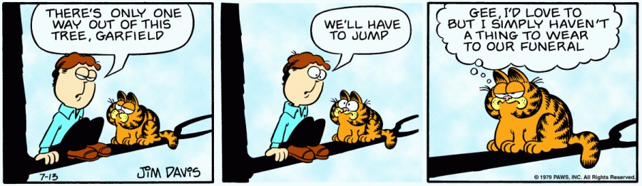 Оригинал комикса про Гарфилда от 13 июля 1979 года