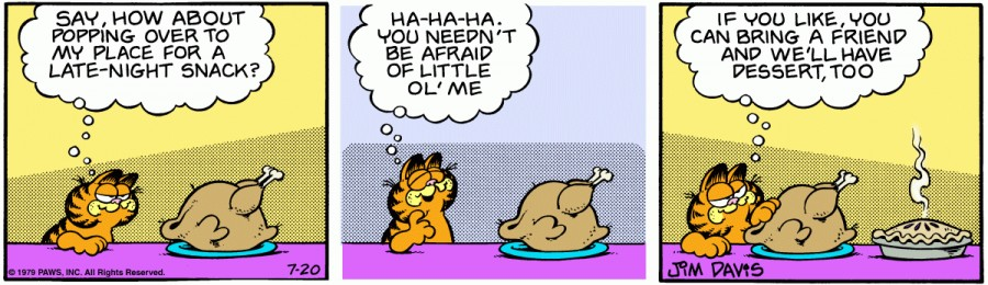 Оригинал комикса про Гарфилда от 20 июля 1979 года