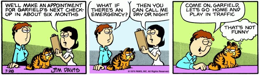 Оригинал комикса про Гарфилда от 28 июля 1979 года