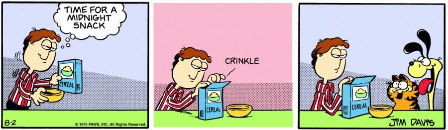 Оригинал комикса про Гарфилда от 02 августа 1979 года