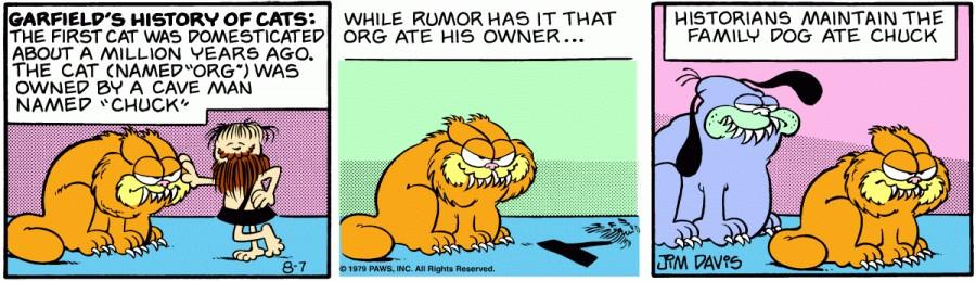 Оригинал комикса про Гарфилда от 07 августа 1979 года