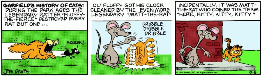 Оригинал комикса про Гарфилда от 08 августа 1979 года