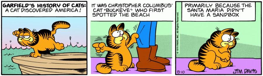 Оригинал комикса про Гарфилда от 10 августа 1979 года